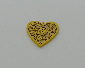 5 yellow 40x39mm wood heart beads