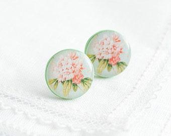 Floral stud earrings flowers jewelry large stud earrings spring jewelry