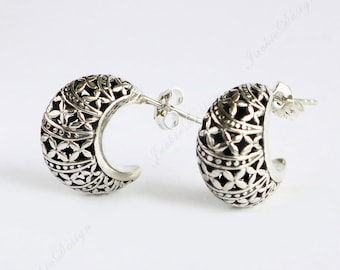 Classic Crescent Post Earrings Oxidized Sterling Silver Earrings JD105