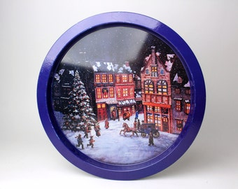 Vintage Christmas Round Tin Tray - Winter Scene Village Circular Metal Coffee Tea Serving Tray Town Christmas Tree Horse Carriage Snow