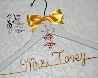Disney Wedding Hanger, Beauty and the Beast Wedding Hanger, Disney Princess Wedding, Personalized Hanger, Bridal Shower Gift, Custom Hanger