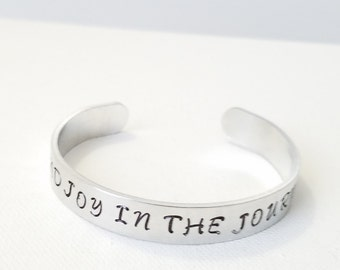 Custom Hand Stamped Jewelry Cuff Inspirational Quote Find Joy In The Journey