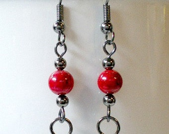 Red Coral and Gunmetal Dangle Earrings with Gunmetal Accents