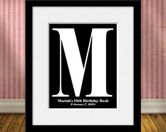 18th Birthday Party Ideas, Guests Signature Initial Print, Modern Guestbook, Large Initial Print, Guestbook Alternative, Keepsake Guestbook