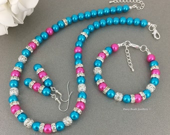 Hot pink Necklace Turquoise Jewelry Set Turquoise Necklace Bracelet and Earrings Bridesmaids Gift for Her Summer Destination Wedding 2017