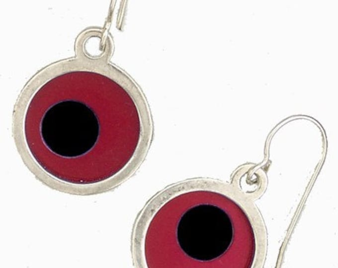 Small Two Tone red/black Earrings