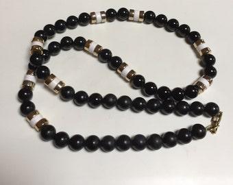 Napier Black, White & Gold Beaded Necklace