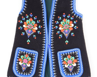 Hand embroidered Romanian folk waistcoat vest Vintage Gypsy Boho Hippie Ethnic Festival embroidered  wool Vest s  8 10 us 4 6