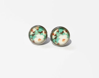 Floral Earrings, Floral Print studs, Floral Graphic Studs, 12mm studs, Blue Floral Studs, Floral Pattern studs , Spring Floral studs