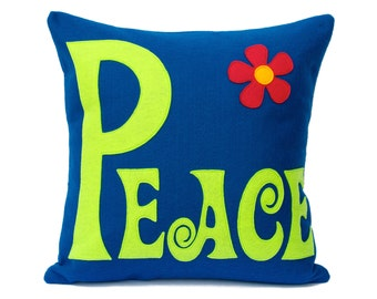Groovy Peace Appliquéd Pillow Cover in Bright Blue and Spring Green Eco-Felt 18 inches