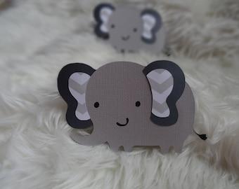 Set of 10 Gray Elephants