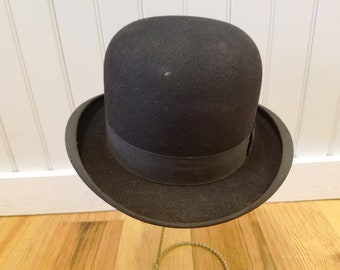 Antique Black Bowler Hat, New Old Stock, George W. Hess & Sons, ca 1920s