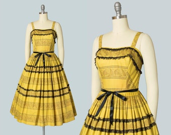 Vintage 1950s Dress | 50s Floral Lace Striped Goldenrod Yellow Cotton Sundress Full Skirt Day Dress (small)