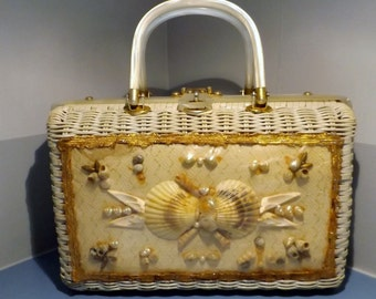 SALE,Wicker handbag, Atlas ,Sea Shell, purse,Summer handbag,60's pocketbook,Vintage Princess Charming,