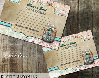 Rustic Wedding date Idea Cards - Instant Download - Help the newlyweds with some date ideas 5x3.5    4 on a page
