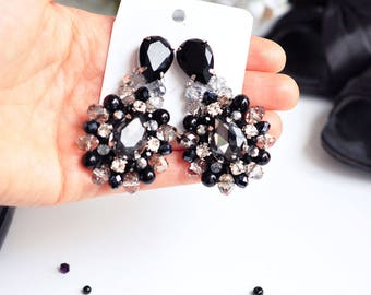 black jewelry gift woman black earring Crystal Earrings large black Chandeliers grey rhinestone earrings Dangle black statement earrings