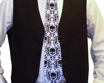 RokGear Skull Damask Necktie - Print to order in custom colors of your choice