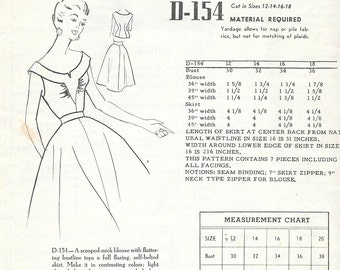 Vintage 1950s Modes Royale Sewing Pattern D-154 - Misses' Blouse and Skirt size 16 bust 34