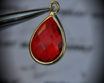 Gold Plated Bezel Brass Faceted Glass Tear Drop Pendant - Bright Red