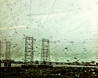 "Photo print, Transmission, 10x10"", rainy day, electrical towers, power lines, industrial photos, rain photos, transmission towers"