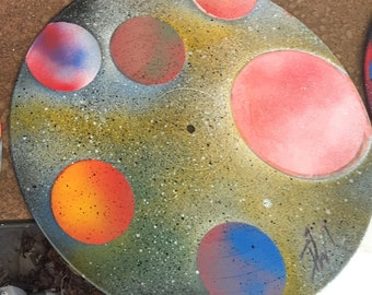 Spray painted galaxy art on vinyl