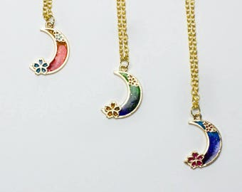 Moon Necklace - Crescent Moon Necklace - Kawaii Necklace - Galaxy Moon Necklace - Dainty Necklace - Sakura Blossom Necklace