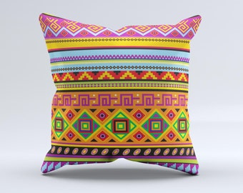 The Vector Gold & Purple Aztec Pattern V32 ink-Fuzed Decorative Throw Pillow
