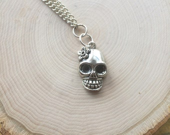 Day of the Dead Silver Skull Pendant Necklace