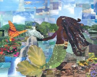 La Sirene Mermaid Collage Print Haitian Art