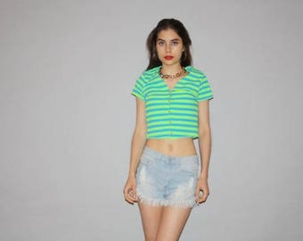 ON SALE! Vintage 90s Graphic Neon Green Striped Cropped Crop Top Belly Tops - 1990s Crop Top - Women's 90s Tops