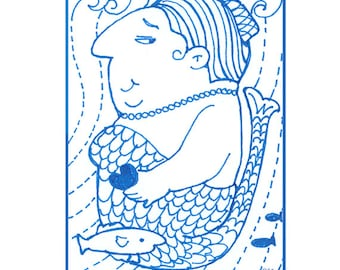 Whimsical ACEO Mermaid Print with Zentangle Elements by Suzanne Urban Art