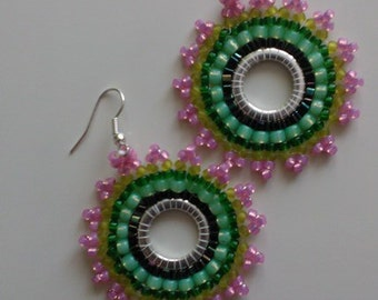 Beaded Earrings Green Pink