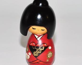 Vintage Japanese Kokeshi こけしDoll, Black Hair Red Kimono
