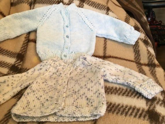 40af6579e25b 2 new hand knitted blue blue fleck woollen 18
