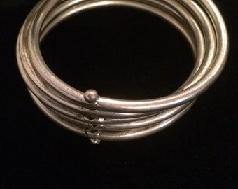 Silver Tone Set of Five Bangles, Stacking and Attached