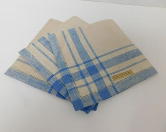 Vintage Set of 3 Blue and Cream Linen Napkins made in Czecho Slovakia, Never Used