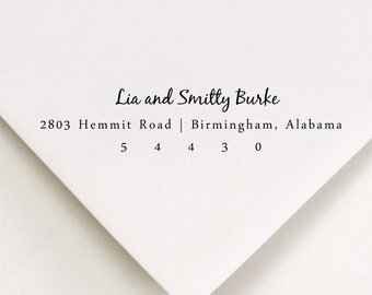 Return Address Stamp, Wedding Stamp, Self Inking Mount, Script Font, Name and Address customization, Lia and Smitty