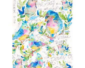 sparrow art, bird art, birds and flowers, floral art, floral watercolor, floral room, spring art, spring time, pink, bird collage