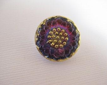 18mm Bohemian Czech Glass Button Flower motif, Vitrail, Fuschia/Blue B/074