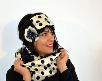 snood white with black dots