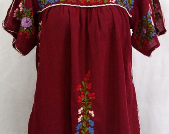 """Mexican Peasant Top Blouse Hand Embroidered: """"Lijera"""" Burgundy + Multi Color Embroidery ~ Size MEDIUM"""
