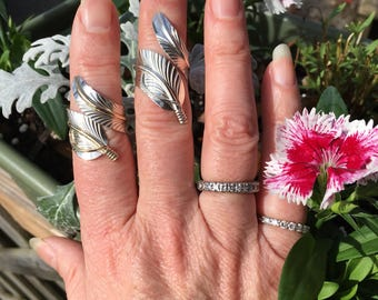 Silver feather rings