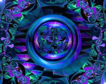Abstract Circle Art, Purple Blue Third Eye Chakra Wall Decor, Reiki Energy