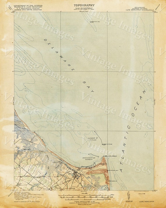 Old Map of Delaware Bay 1918 Delaware Bay map Antique Map Restoration Hardware Style Map Cape Henlopen Chart map Nautical Map wall map art