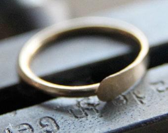 9mm 20g 14K Gold Cartilage Hoop / Nose Ring  - 9mm Hammered Hoop in 20 gauge solid 14K yellow, rose (pink), or white gold