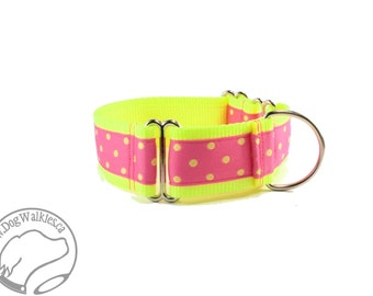"""Pink Lemonade Dots - 1.5"""" (38mm) Wide Dog Collar - Your Choice of style and size - Martingale or Side Release Buckle"""