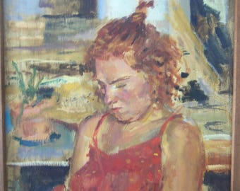 Wonderful Oil or Acrylic on Linen Portrait of Red Headed Girl