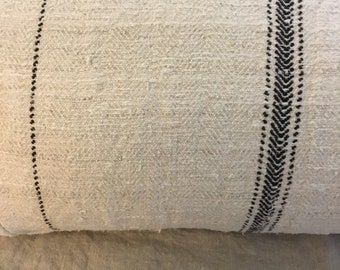 "Vintage Linen Grain Sack Textile and off white Mudcloth Lumbar Pillow Cover 12"" x 24"""
