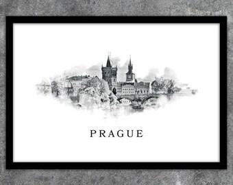 Poster contemporary poster Prague Czech Republic instant download A1 A2 A3 A4 A5 20 x 16-24 x 18-36 x 24 70 x 50 90 x 60 + US sizes
