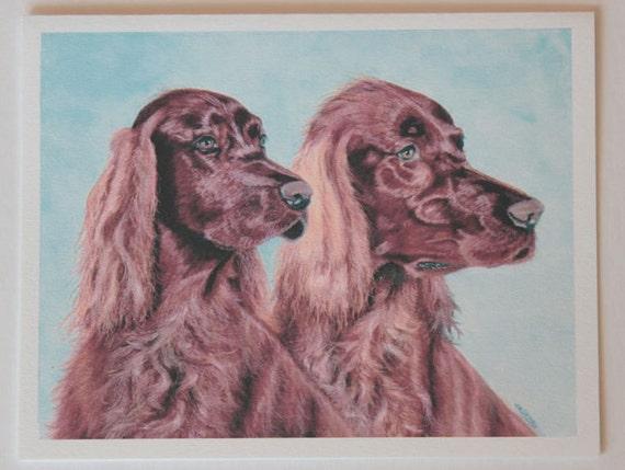 Irish Setters, note card, blank greeting card, pastel pet portrait, dog art, fine art greeting cards, dog art, dog note cards
